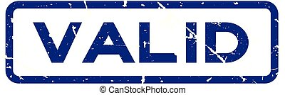 Grunge blue valid square rubber seal stamp on white background