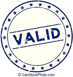 Grunge blue valid word with star icon round rubber seal stamp on white background
