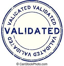 Grunge blue validate round rubber stamp on white background