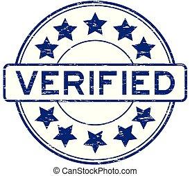 Grunge blue verified with star icon round rubber stamp