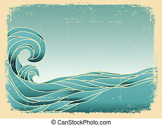 Grunge blue waves background. Painted image on old paper texture.
