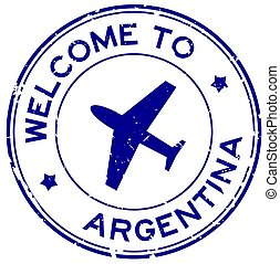 Grunge blue welcome to Argentina word with airplane icon round rubber seal stamp on white background
