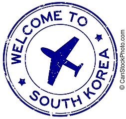 Grunge blue welcome to South Korea word with airplane icon round rubber seal stamp on white background