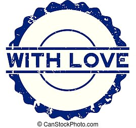 Grunge blue with love word round rubber seal stamp on white background