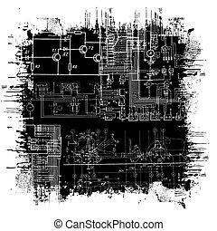 grunge blueprint - abstract technical drawing in grunge ...