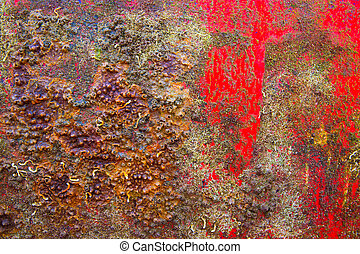 Grunge boat hull background in red and rusty