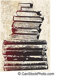 grunge, boek, stapel