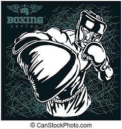 grunge, boks, retro, ilustracja, tło, -, mecz