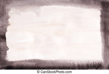 Hand painted grunge border on watercolour paper. l Brush strokes are visible.