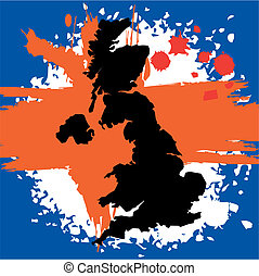 Grunge border line of country UK filled with flag of the state