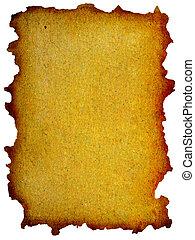 grunge, bords, papier, jaune, brûlé, menthe