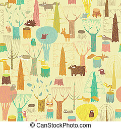 grunge, bosque, animais, seamless, padrão