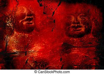 grunge, bouddha, arrière-plan rouge