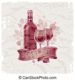 grunge, bouteille, &, vendange, -, illustration, main, papier, vecteur, fond, dessiné, lunettes vin