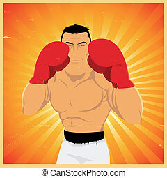 Grunge Boxer In Guard Position - Illustration of a grunge...