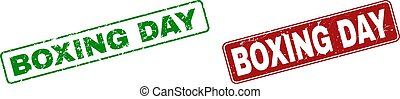 Grunge BOXING DAY Stamp Seals with Rounded Rectangle Frames