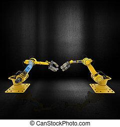 grunge, braccia, metallico, fondo, robot, 3d