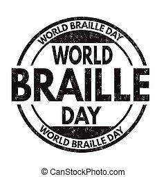 grunge, braille, selo borracha, mundo, dia