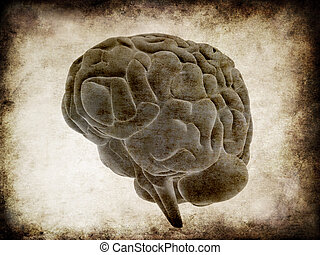 grunge brain - 3d rendered illustration of human brain -...