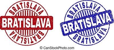 Grunge BRATISLAVA Scratched Round Watermarks