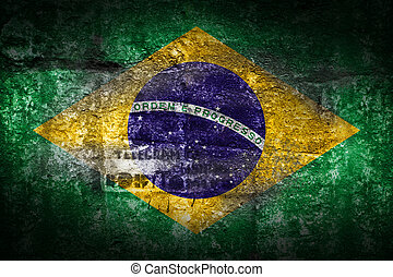 Grunge Brazil flag on stone texture background