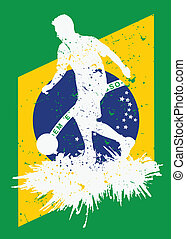 Grunge brazil soccer player background