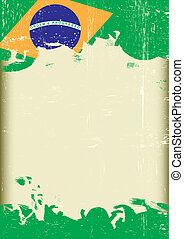 Grunge Brazilian flag - A poster with a large scratched...