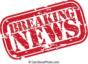 Grunge breaking news rubber stamp, vector