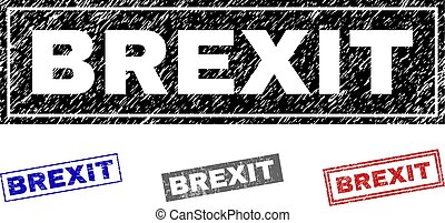 Grunge BREXIT rectangle stamp seals isolated on a white background. Rectangular seals with distress texture in red, blue, black and grey colors.