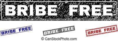 Grunge BRIBE FREE Textured Rectangle Stamp Seals