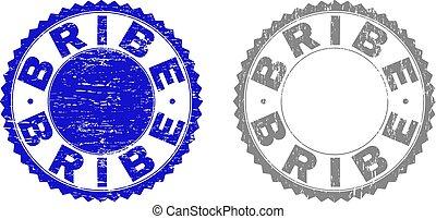 Grunge BRIBE Scratched Watermarks - Grunge BRIBE stamp seals...