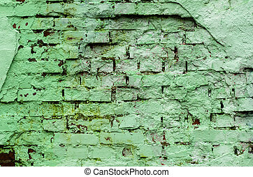 Grunge brick wall texture in green tone. Abstract background and texture