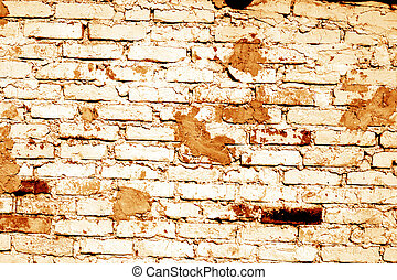 Grunge brick wall texture in orange tone.