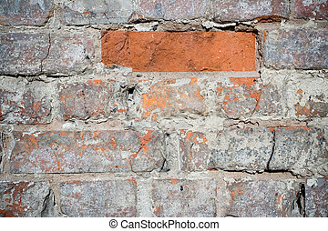 Grunge brick wall with peeling paint texture