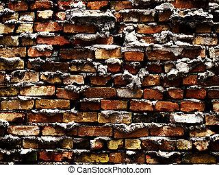 Grunge Brick Wall with Rough Mortar