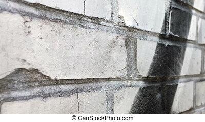 Grunge bricks wall dolly shot