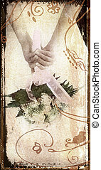 grunge bride - bride holding bouquet behind her back with...