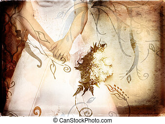 bride holding rose bouquet with grunge texture