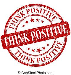 grunge, briefmarke, positiv, denken, runder , rotes