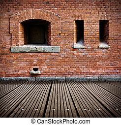grunge, brique, floor., vieux, mur, bois, intérieur