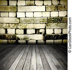 grunge, brique, vieux, mur, intérieur