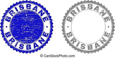 Grunge BRISBANE Textured Stamp Seals