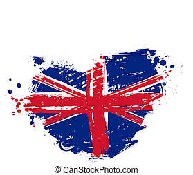 Grunge Britain flag in heart shape