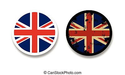 Grunge British flag badges