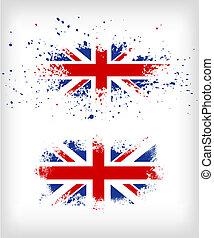 grunge, brits, splattered, vlag, inkt