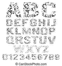 Grunge broken alphabet