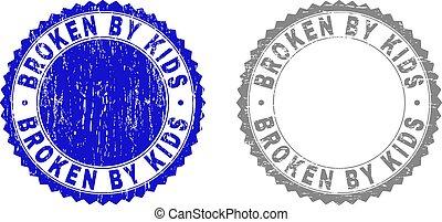 Grunge BROKEN BY KIDS Scratched Watermarks