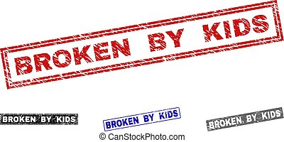 Grunge BROKEN BY KIDS Textured Rectangle Stamp Seals