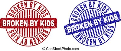 Grunge BROKEN BY KIDS Textured Round Stamps
