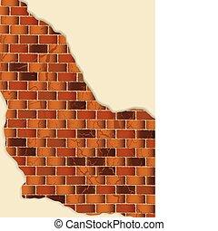 grunge brown brick wall plaster